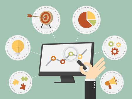 Flat design vector illustration business analysis, SEO  イラスト・ベクター素材