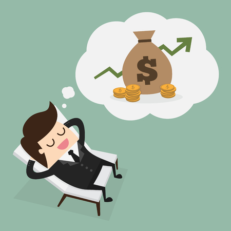 money savings: Business man dreaming about money Illustration
