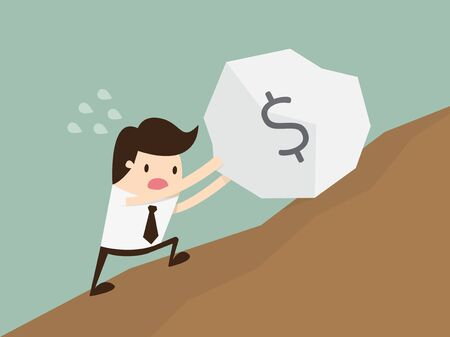 uphill: Business man pushing a huge stone with dollar sign uphill Illustration