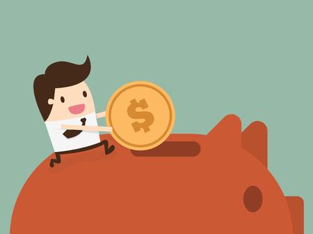 banco dinero: Empresario poner monedas en hucha
