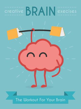 cartoon brain: Brain Exercise, eps 10 vector illustration