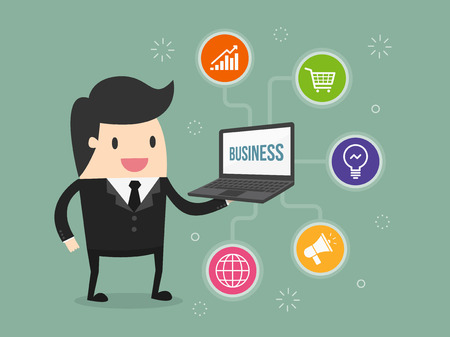 businessman holding laptop with business icon