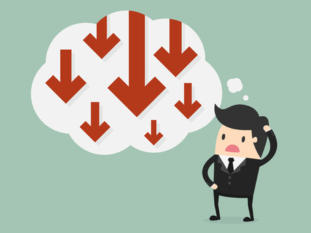 worried: Business failure. Young worried businessman thinking about business graph with negative trend Illustration