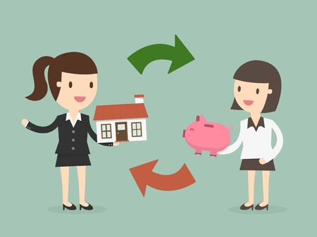 home buying: Home buying, Concept of exchange of money and home Illustration