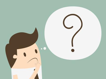 confundido: hombre de negocios con signo de interrogación en su burbuja pensar Vectores