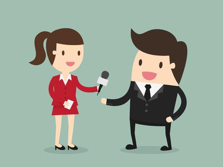 reportero: Mujer de negocios que entrevistar a periodista