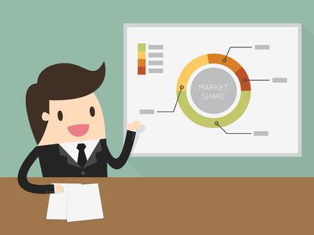 Businessman giving a presentation Illustration