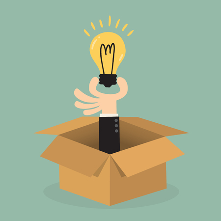 boxes: idea light bulb above opened cardboard box Illustration