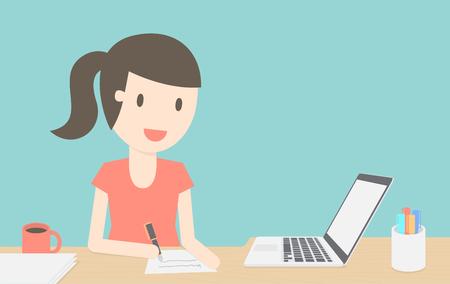 personas trabajando en oficina: Mujer joven en su oficina en casa
