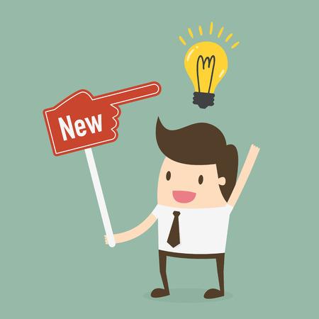 hombre escribiendo: El hombre de negocios que muestra que tiene nueva idea