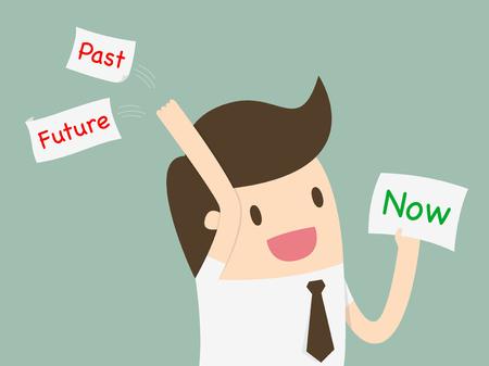 """Homme d'affaires de choisir une carte avec le mot """"maintenant"""" et jeter le passé et l'avenir"""