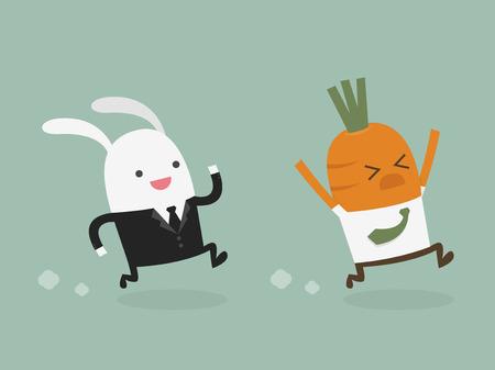 zanahoria caricatura: hombre de negocios hombre de negocios de conejo zanahoria caza