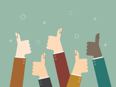 positive: Cheering business people holding many thumbs thumbs up