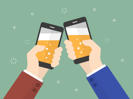 hangout: Cheers. business people holding smartphone with beer on the screen