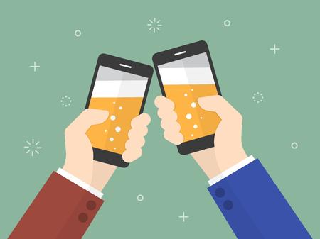 celebração: Saúde. executivos que prendem smartphone com cerveja na tela