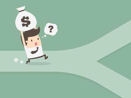 crossroad: hombre de negocios en encrucijada. concepto de finanzas personales