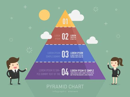 design layout: Pyramid chart. Business person presenting Pyramid type infographic elements