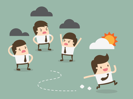 office environment: Run away from negative people Illustration