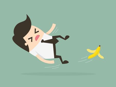 platano caricatura: El hombre de negocios resbalar en una cáscara de plátano. ilustración concepto de negocio.