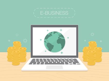 E-ビジネス。フラットなデザイン イラスト。コンピューターとインターネットからお金を稼ぐ  イラスト・ベクター素材