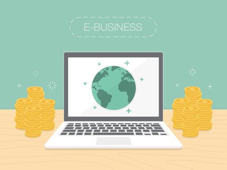 E-Business. Flat design illustration. Make money from computer and internet Vectores