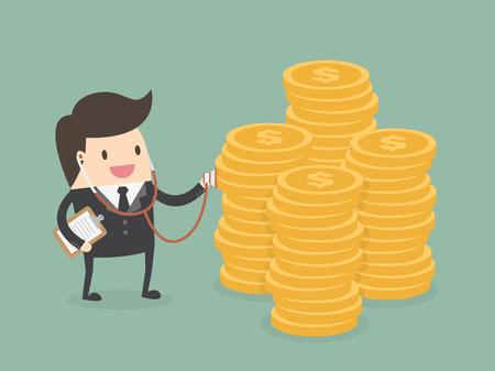prosperidad: comprobación del estado financiero. El hombre de negocios que usa el estetoscopio para comprobar la salud de dinero Vectores
