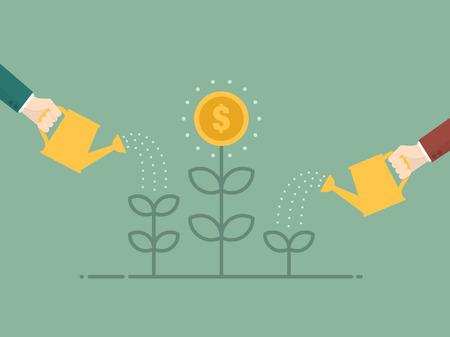 dinero: Crecimiento de dinero. Ilustración Diseño plano. Persona de negocios riego árbol del dinero