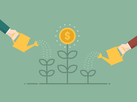 wealth: Money Growth. Flat design illustration. Business person watering money tree