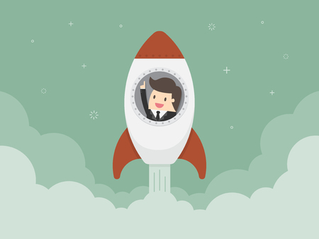 Startup Business. Flat design illustration. Businessman on a rocket