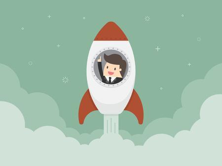 mosca caricatura: Empezar un negocio. ilustración diseño plano. El hombre de negocios en un cohete
