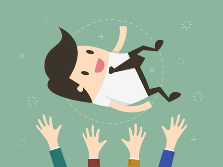success: Success. businessman being thrown in the air. Flat design illustration