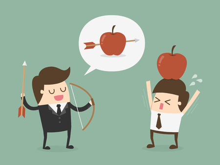 Business target concept. Businessman shooting an apple on top of colleague Vectores