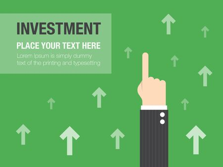 hand pointing: Business growth concept background. Business concept flat illustration.