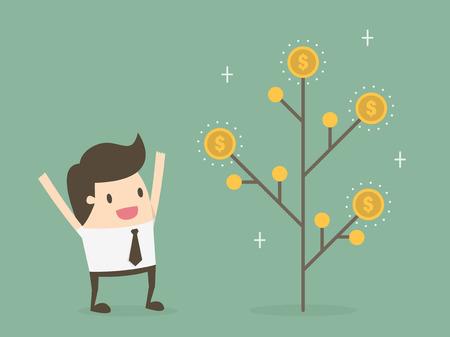 argent: Usine de l'argent. La croissance monétaire et le concept d'investissement. Illustration
