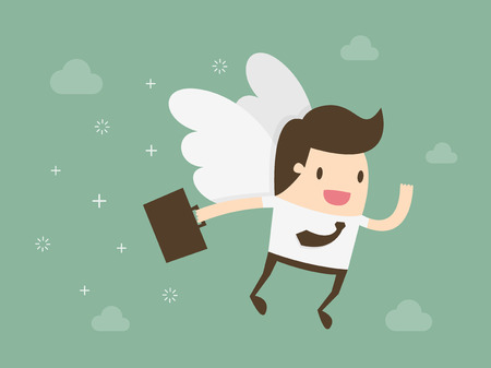 mosca caricatura: Inversor de Angeles. Ángel de negocios. Diseño plano ilustración concepto de negocio.