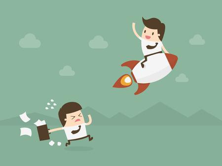 cohetes: Competición del asunto. Ventaja competitiva. Diseño plano ilustración concepto de negocio. Vectores