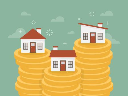 dinero: Bienes raíces. Casa en la pila de monedas. Diseño plano ilustración concepto de negocio.