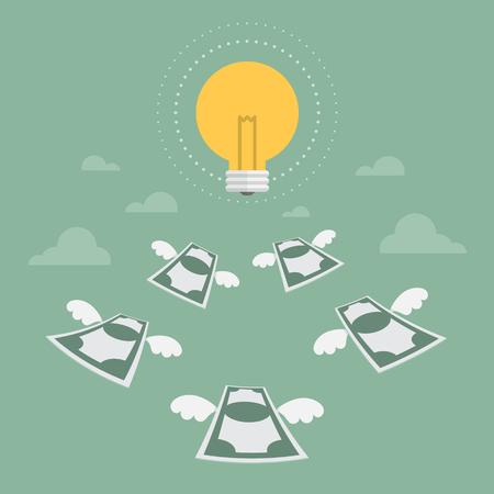 flying money: Idea. Money flying to light bulb. Flat design business concept illustration.