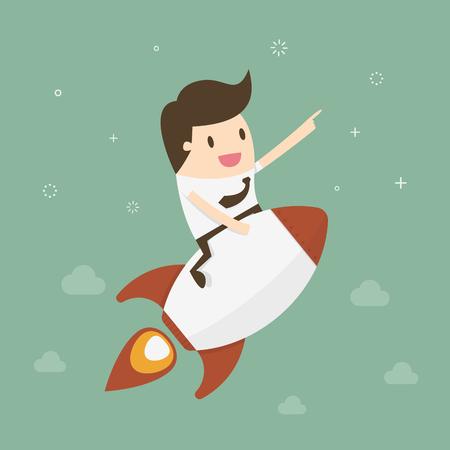 gestion empresarial: Empezar un negocio. El hombre de negocios en un cohete. Dise�o plano ilustraci�n concepto de negocio.