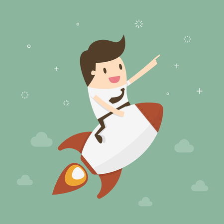 business development: Startup Business. Businessman on a rocket. Flat design business concept illustration.