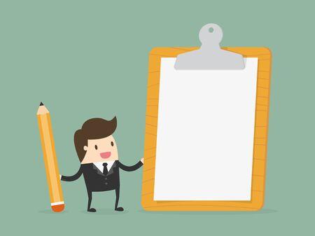 cheque en blanco: El hombre de negocios la celebración de portapapeles con papel blanco. Ejemplo del concepto de negocio dibujos animados diseño plano. Vectores