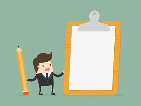 Imprenditore in possesso di appunti con carta bianco. Piatto attività di progettazione illustrazione concetto di cartone animato. Vettoriali