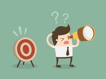 El hombre de negocios confuso busca el objetivo en la dirección incorrecta. Ilustración de dibujos animados de concepto de negocio de diseño plano. Ilustración de vector