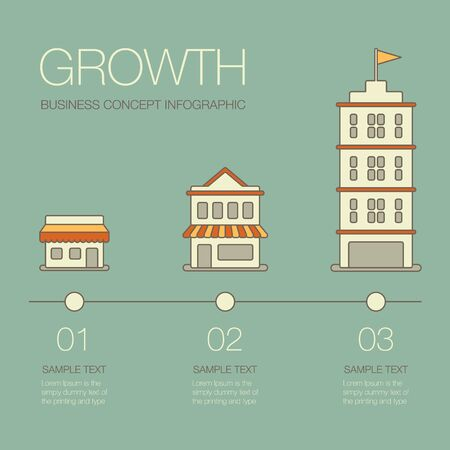 future business: Business growth. Business infographics elements in modern flat style.
