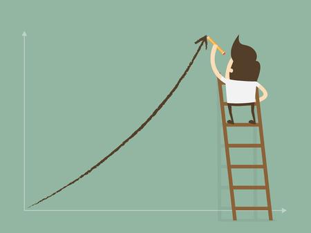 Groei concept. Business man staande op de ladder tekening groei grafiek op de muur. Platte ontwerp business concept cartoon illustratie.
