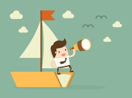 barche: Knowledge.Flat attività di progettazione illustrazione concetto di cartone animato.