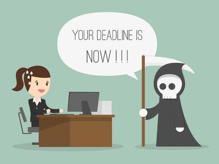 boss cartoon: Deadline. Cartoon Illustration