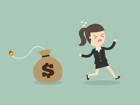 cartoon bomb: Business Woman Running Away From Money Bomb, Inflation Concept. Cartoon Vector Illustration