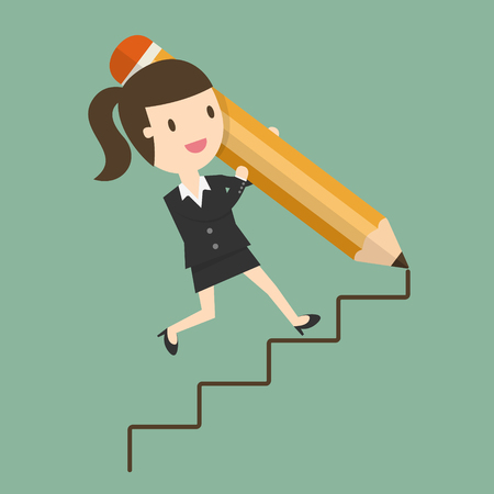 Way To Success, Concept of Business Opportunity. Flat Design Cartoon Illustration