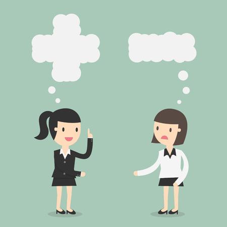 Positief en negatief denken. Illustratie Business Concept Cartoon